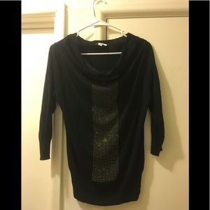 New York & Co. Black/Gold Sweater Scoop Neck